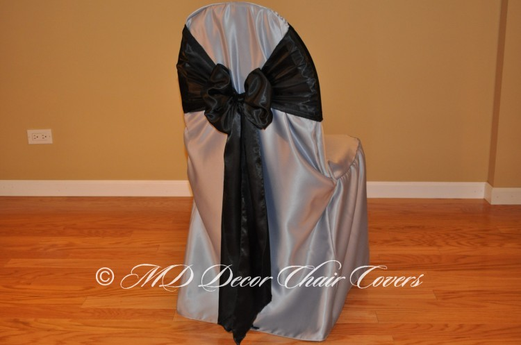 BLACK SATIN LAMOUR SASH BUTTERFLY STYLE
