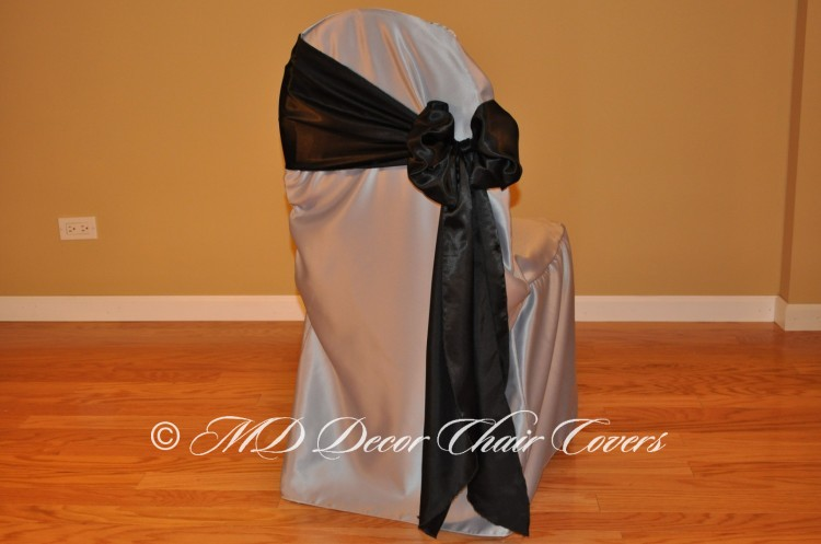BLACK SATIN LAMOUR SASH BUTTERFLY STYLE TO THE SIDE