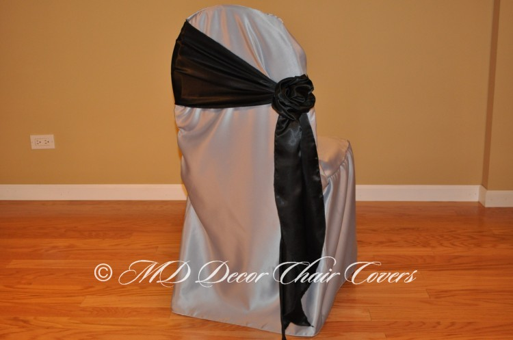 BLACK SATIN LAMOUR SASH ROZE STYLE TO THE SIDE